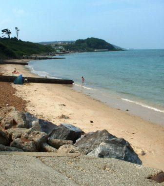 Colwell Bay looking from the bottom of the slipway west towards Totland and The Needles